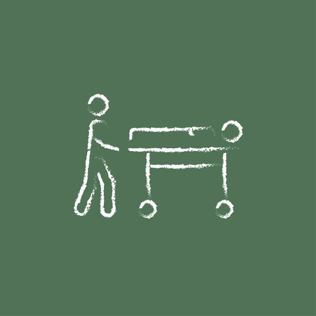 medical equipment: Man pushing stretchers hand drawn in chalk on a blackboard vector white icon isolated on a green background.