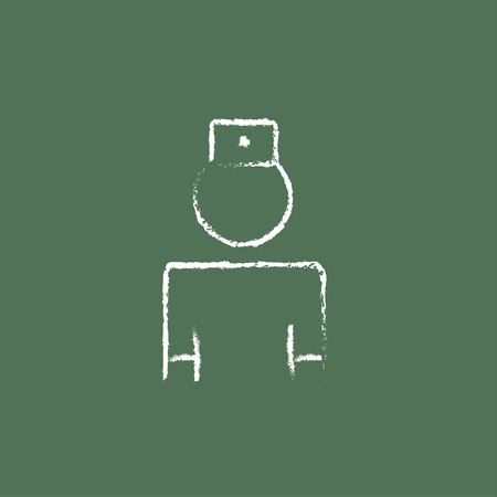 adviser: Nurse hand drawn in chalk on a blackboard vector white icon isolated on a green background.