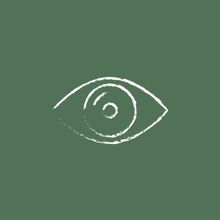 shortsighted: Eye hand drawn in chalk on a blackboard vector white icon isolated on a green background.