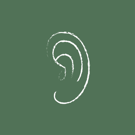 audible: Human ear hand drawn in chalk on a blackboard vector white icon isolated on a green background.