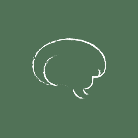 neurosurgery: Brain hand drawn in chalk on a blackboard vector white icon isolated on a green background.