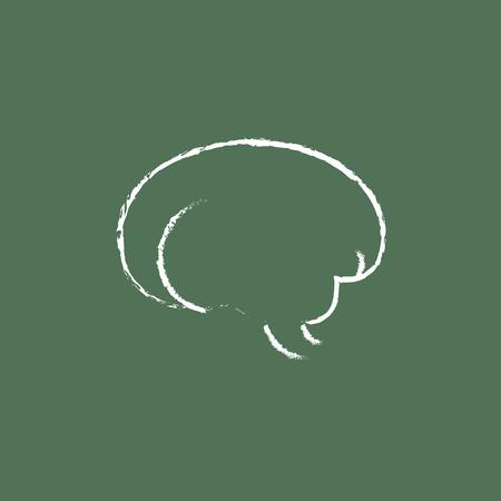 talamo: Parte del cerebro dibujado en tiza en un icono blanco vector de pizarra aislado en un fondo verde.