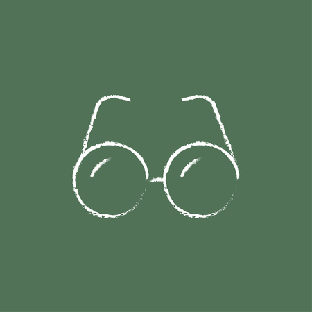 shortsighted: Eyeglasses hand drawn in chalk on a blackboard vector white icon isolated on a green background.