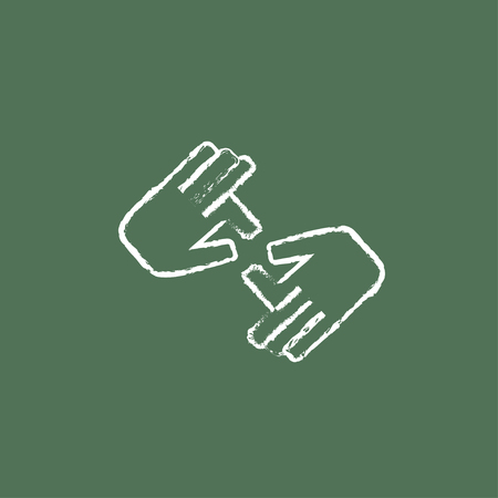 nonverbal: Finger language hand drawn in chalk on a blackboard vector white icon isolated on a green background.