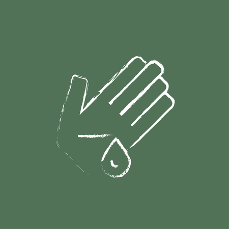 rinse: Wounded palm hand drawn in chalk on a blackboard vector white icon isolated on a green background.