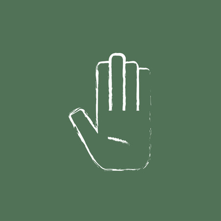 surgical glove: Medical glove hand drawn in chalk on a blackboard vector white icon isolated on a green background. Illustration