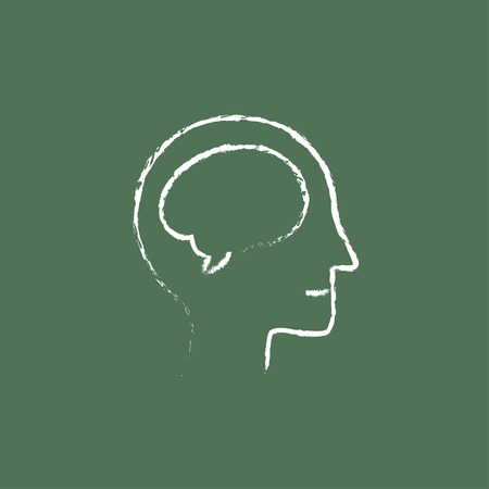 neuronal: Human head with brain hand drawn in chalk on a blackboard vector white icon isolated on a green background. Illustration
