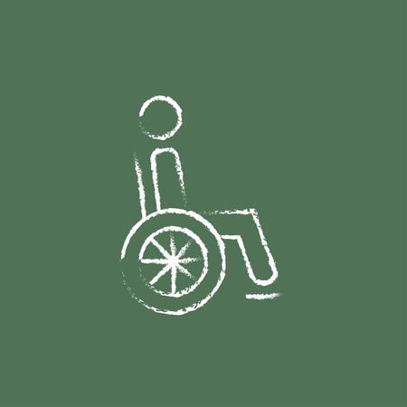 medicine wheel: Disabled person hand drawn in chalk on a blackboard vector white icon isolated on a green background.