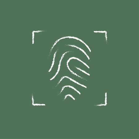 fingertip: Fingerprint scanning hand drawn in chalk on a blackboard vector white icon isolated on a green background.