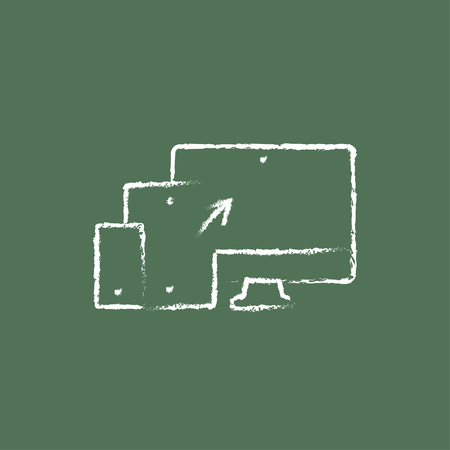response: Responsive web design hand drawn in chalk on a blackboard vector white icon isolated on a green background.