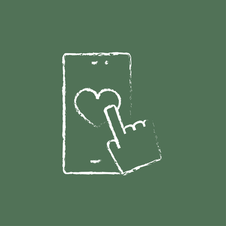 smartphone hand: Smartphone with heart sign hand drawn in chalk on a blackboard vector white icon isolated on a green background. Illustration