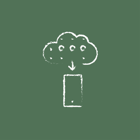 green computing: Cloud computing hand drawn in chalk on a blackboard vector white icon isolated on a green background.