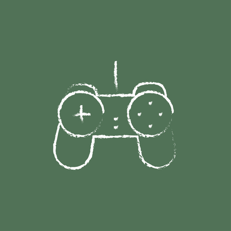 handheld device: Joystick hand drawn in chalk on a blackboard vector white icon isolated on a green background. Illustration