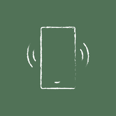 vibrating: Vibrating phone hand drawn in chalk on a blackboard vector white icon isolated on a green background.