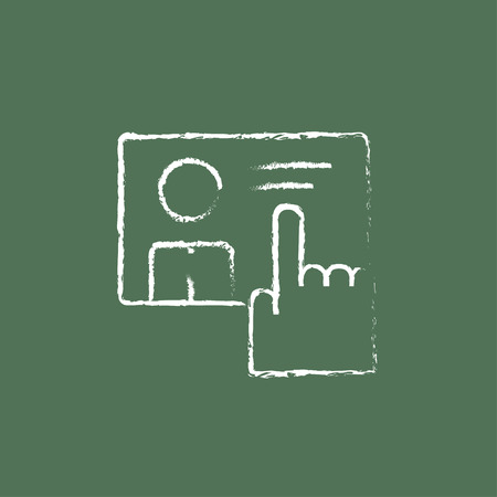 smartphone hand: Smartphone hand drawn in chalk on a blackboard vector white icon isolated on a green background. Illustration