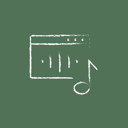 fm: Radio hand drawn in chalk on a blackboard vector white icon isolated on a green background.