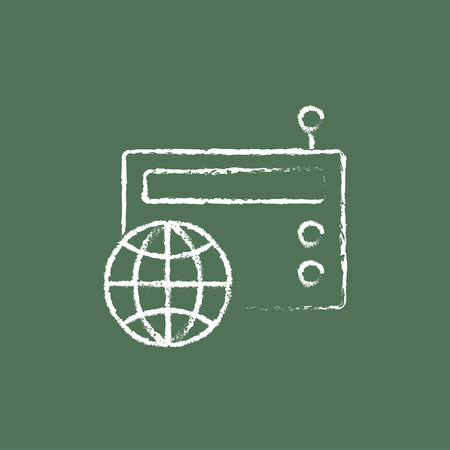 world receiver: Retro radio hand drawn in chalk on a blackboard vector white icon isolated on a green background. Illustration