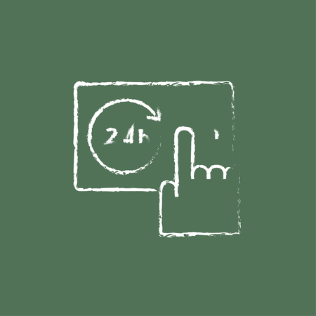 Available around the clock hand drawn in chalk on a blackboard vector white icon isolated on a green background. Ilustração