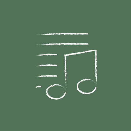 melodies: Musical note and lines hand drawn in chalk on a blackboard vector white icon isolated on a green background.