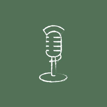 Main Microphone tracé à la craie sur un tableau noir vecteur icône blanche isolé sur un fond vert. Banque d'images - 45682399