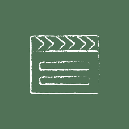 flick: Clapboard hand drawn in chalk on a blackboard vector white icon isolated on a green background. Illustration
