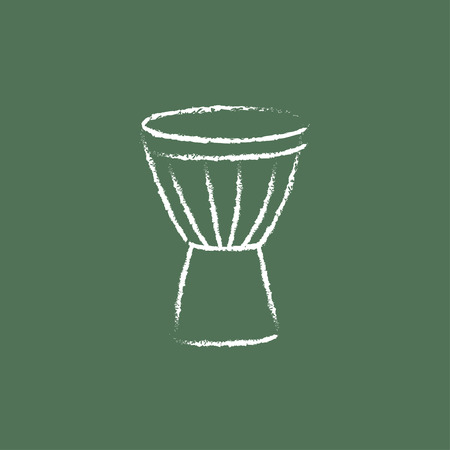 accompaniment: Timpani hand drawn in chalk on a blackboard vector white icon isolated on a green background.