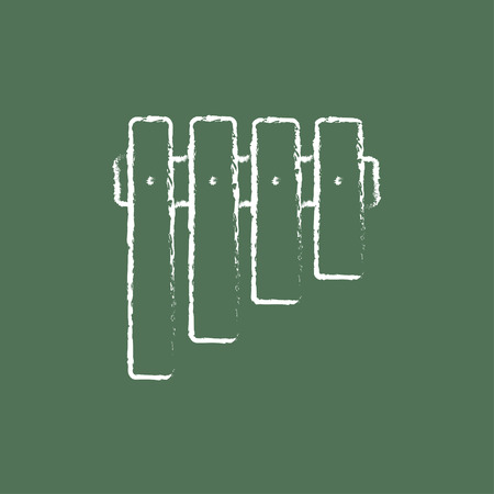 blown: Vibraphone hand drawn in chalk on a blackboard vector white icon isolated on a green background. Illustration