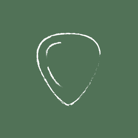 guitar pick: Guitar pick hand drawn in chalk on a blackboard vector white icon isolated on a green background.
