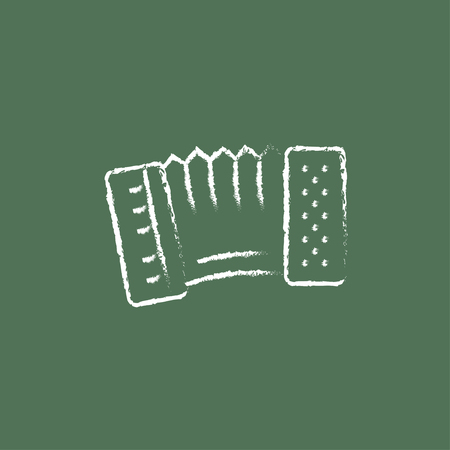 concertina: Accordion hand drawn in chalk on a blackboard vector white icon isolated on a green background.