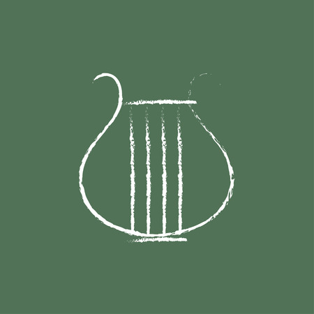 lyre: Lyre hand drawn in chalk on a blackboard vector white icon isolated on a green background.