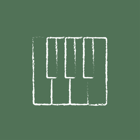 Piano keys hand drawn in chalk on a blackboard vector white icon isolated on a green background. Illustration