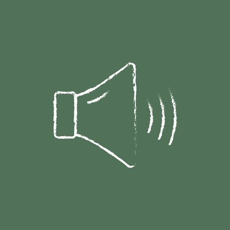 speaker: High speaker volume hand drawn in chalk on a blackboard vector white icon isolated on a green background.