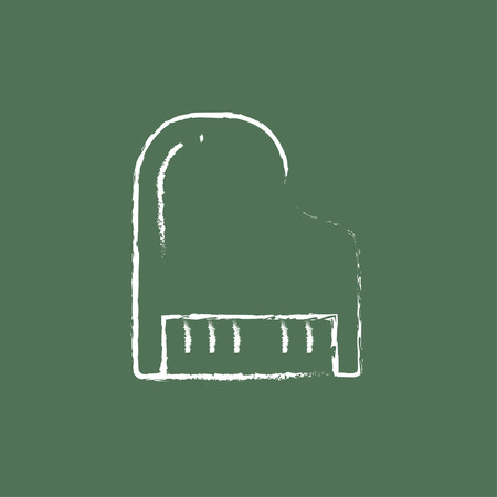 octave: Piano hand drawn in chalk on a blackboard vector white icon isolated on a green background.