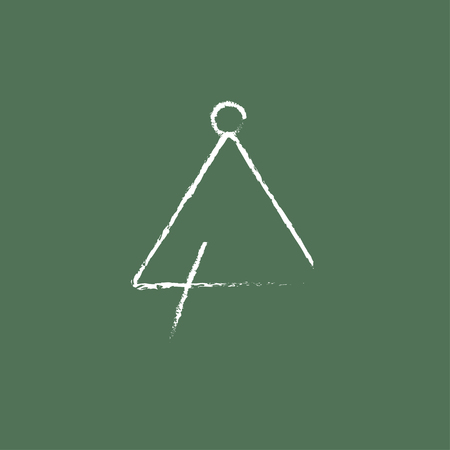 struck: Triangle hand drawn in chalk on a blackboard vector white icon isolated on a green background. Illustration