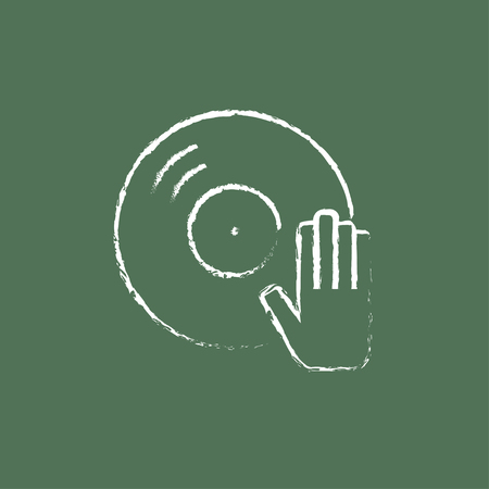 remix: Dj hand with disc hand drawn in chalk on a blackboard vector white icon isolated on a green background.