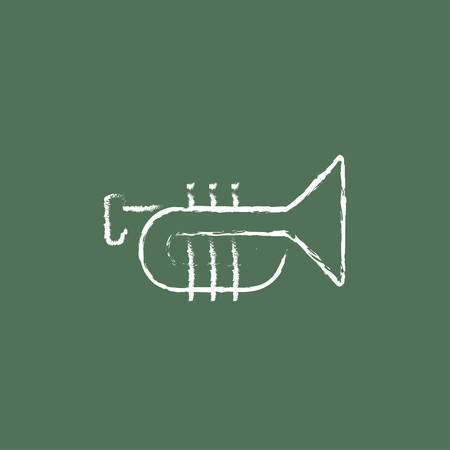symphonic: Trumpet hand drawn in chalk on a blackboard vector white icon isolated on a green background.