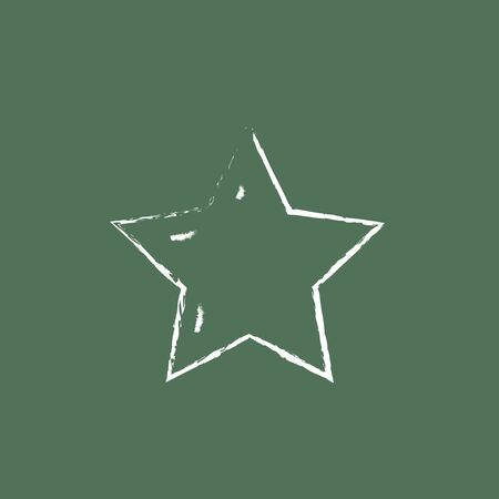 star rating: Star rating hand drawn in chalk on a blackboard vector white icon isolated on a green background.