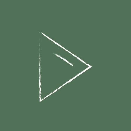 forwards: Play button hand drawn in chalk on a blackboard vector white icon isolated on a green background.
