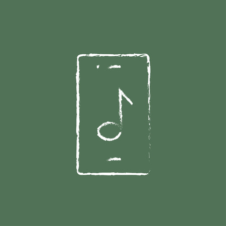 smartphone hand: Smartphone with music note hand drawn in chalk on a blackboard vector white icon isolated on a green background.