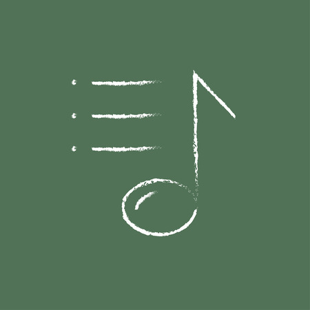 melodies: Musical note hand drawn in chalk on a blackboard vector white icon isolated on a green background.