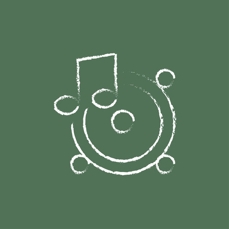Loudspeakers with music note hand drawn in chalk on a blackboard vector white icon isolated on a green background.