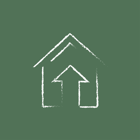 Growth of real estate market hand drawn in chalk on a blackboard vector white icon isolated on a green background.