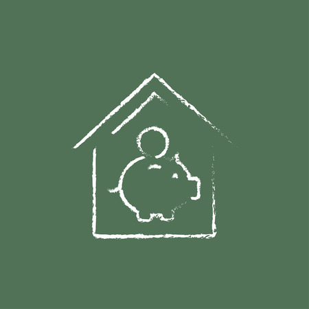 House savings hand drawn in chalk on a blackboard vector white icon isolated on a green background.