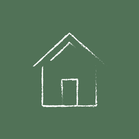 chalk line: House hand drawn in chalk on a blackboard vector white icon isolated on a green background.
