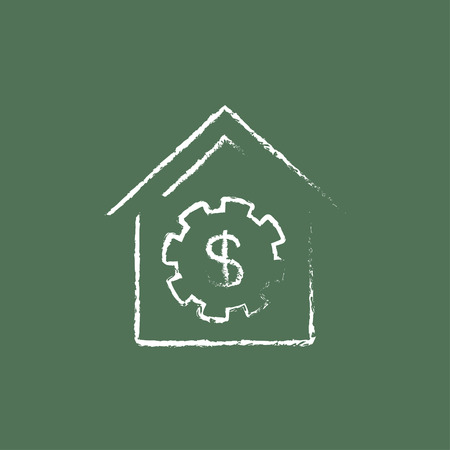 symbol hand: House with dollar symbol hand drawn in chalk on a blackboard vector white icon isolated on a green background.