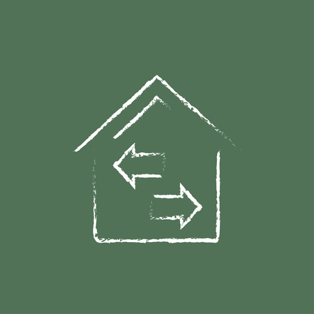 resale: Property resale hand drawn in chalk on a blackboard vector white icon isolated on a green background. Illustration