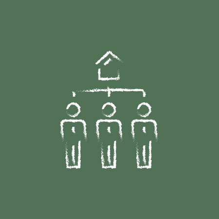 renter: Three real estate agents hand drawn in chalk on a blackboard vector white icon isolated on a green background.