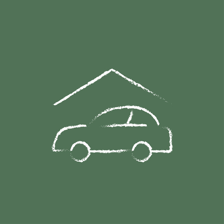 drawn garage doors house with garage sketch icon for web and mobile hand drawn