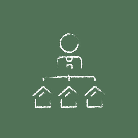 renter: Real estate agent with three houses hand drawn in chalk on a blackboard vector white icon isolated on a green background.