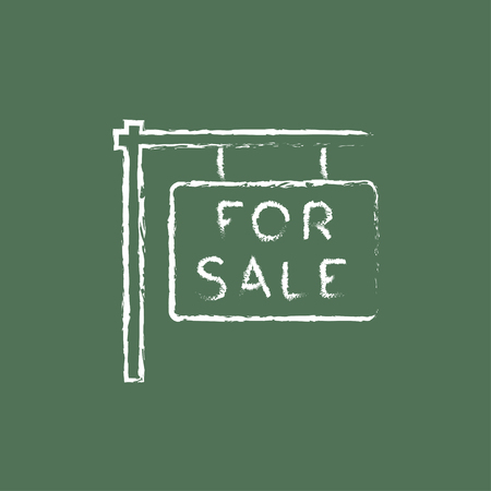 For sale placard hand drawn in chalk on a blackboard vector white icon isolated on a green background. Illustration